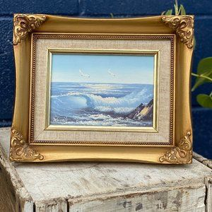 Vintage Seascape Painting Gold Chunky Frame